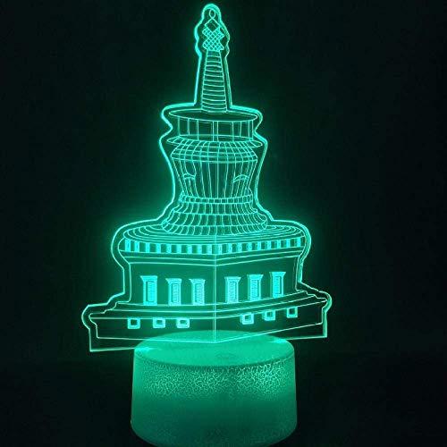 Luz de ilusión 3D decoración de edificio de faro de noche led colorida con control remoto lámpara de mesa con batería el mejor regalo de navidad de cumpleaños para niños