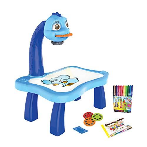Fannyfuny Tracking- und Zeichenprojektor-Spielzeug, Kinder Zeichenbrett Projektor Tisch, Kind Lernen Schreibtisch mit Smart Projektor Licht Musik Malset für Kinder