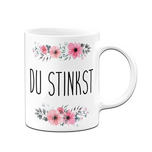 Tassenbrennerei Tasse mit Spruch Du Stinkst - Kaffeetasse lustig Bürotasse - Spülmaschinenfest (Weiß)