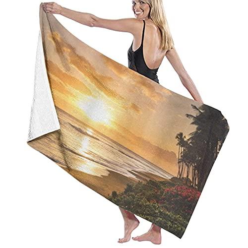 AOOEDM Toalla de Playa Cálida Puesta de Sol Tropical en Las Arenas de la Playa en Maui Hawaii Viajar, Toalla de baño de Microfibra Grande de Secado rápido, livianas, Deportivas, para Viajes, Gimnasio