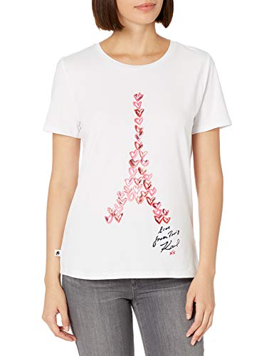 Karl Lagerfeld Paris - Playera de Manga Corta para Mujer, Blanco/Summer Berry, XL