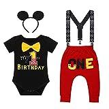 Iwemek - Conjunto de disfraz para bebé (primer y segundo, diseño de Mickey Mouse con texto en inglés 'El ratón' #A: negro Mon 1 Anniversary 12-18 Meses