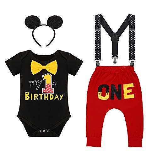 """Iwemek - Conjunto de disfraz para bebé (primer y segundo, diseño de Mickey Mouse con texto en inglés """"El ratón"""" #A: negro Mon 1 Anniversary 12-18 Meses"""