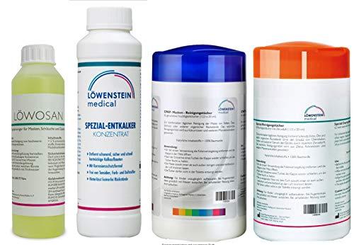 4er Set Löwosan CPAP Masken Maskenreiniger für Schlafmasken + Reinigungstücher neutral und Zitrus + spezial Entkalker für für CPAP Geräte aller Marken
