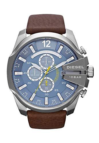 Diesel Herren-Uhren Rund Analog Quarz One Size Braun Leder 32002660
