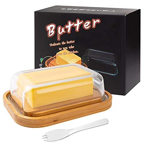 Yangbaga Beurrier en Verre,Boîte à Beurre, avec Couvercle en Bambou et Couteau à Beurre,Boîte à Beurre en Verre Utilisé pour Placer du Beurre, du Fromage, etc