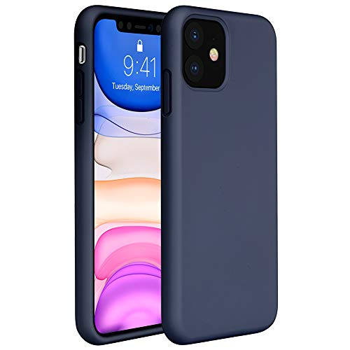 Miracase Liquid Silicone Case Compatible with iPhone 11 6.1 inch(2019), Gel Rubber Full Body Protection Cover Case Drop Protection Case (Navy Blue)