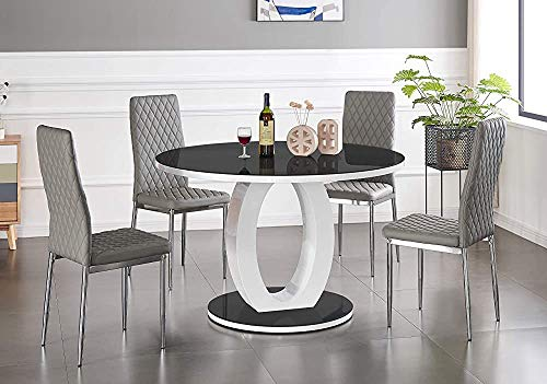 Kkcd Modernes Mode rundes Glas-Esstisch mit Vier Stühlen, 100cm,Dining Table 4 Elephant Grey Milan Chairs