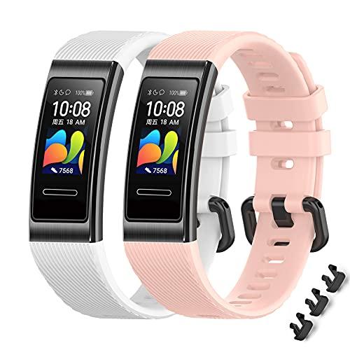 MIJOBS 2-teilige Armbänder für Huawei Band 4 Pro/Band 3 Pro/Band 3 Ersatzriemen Atmungsaktive und Weiche Sportarmbänder mit Silikonbändern Kompatibel mit Huawei Band 3/3Pro/4Pro