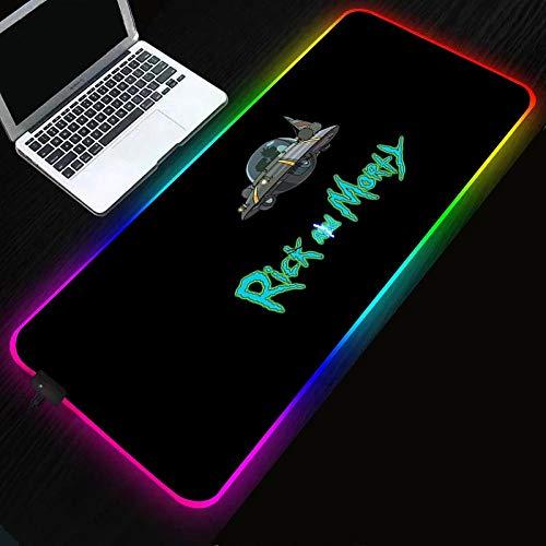 Rick y Morty anime alfombrilla de ratón RGB juego grande retroiluminación LED XXL alfombrilla de ratón teclado de computadora tapete de mesa-Rick_and_Morty_400x900x4mm