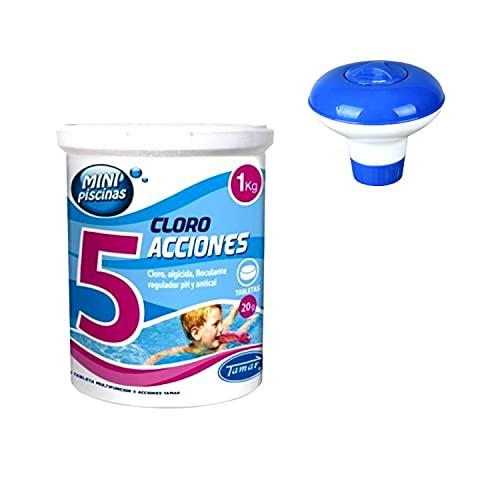 Fer Kit para Piscinas, Cloro en Tabletas de 1 Kg y Dosificador Flotante