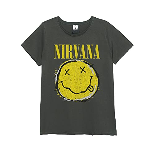 Amplified Nirvana Worn Out Smiley - Camiseta para mujer charcoal M
