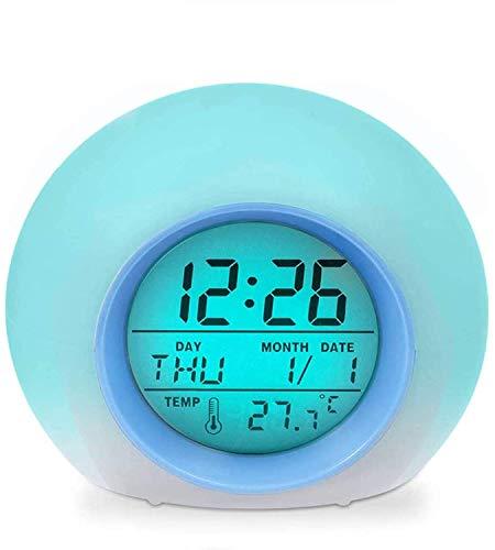 Foneso - Sveglia Elettronica a LED per Bambini, 7 Colori, con Funzione Snooze, retroilluminazione, Luce Notturna, Temperatura, visualizzazione Data, alimentata a Batteria, Colore: Blu