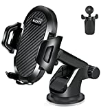 KZED Phone Holder for Car, 3-in-1 Universal Car Phone Mount, Adjustable Dashboard Windshield Air Vent Car Phone Holder, Strong Sticky Gel Suction Cup, Compatible with iPhone Samsung Google and More