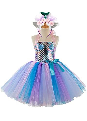 SLSCL Sirena Vestidos Princesa Disfraz Fiesta Boda Cumpleaños Tul Tutu con Encaje...