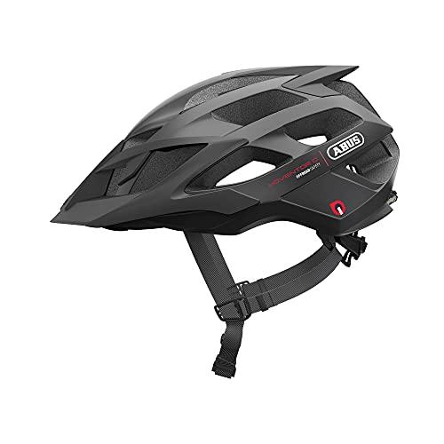 ABUS Moventor Quin Casco para bicicleta de montaña - Casco de bicicleta inteligente con detección de colisión y sistema de alarma SOS - Para hombres y mujeres - Negro, talla L