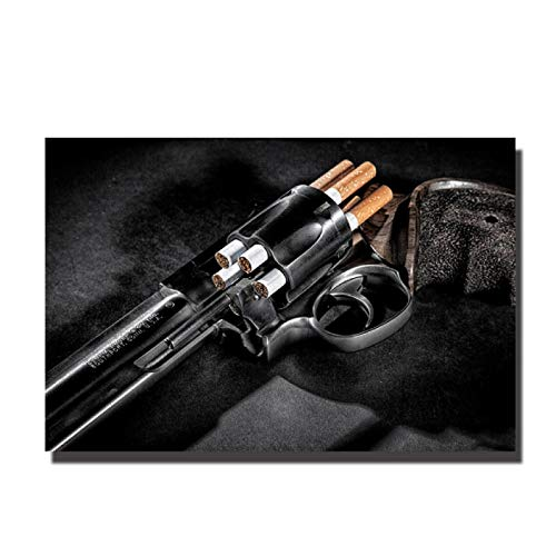 FGVB Revólver Arma Pistola Cigarrillo Cartel Sala de Estar Cartel decoración del hogar Pintura Mural impresión del hogar Pintura decorativa-50x75CM sin Marco