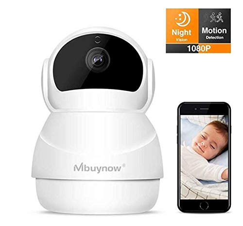 Cámara IP WiFi, Mbuynow Cámara de Vigilancia con Visión Nocturna, Audio de 2 Vías, 360 Rotación Automática,Detector de Movimiento Pan/Tilt, Grabador de Vídeo y Audio, Compatible con iOS/Android/PC
