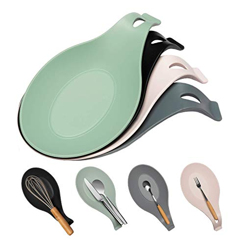 Spoon Rest For Kitchen Counter, Pack of 4 BPA-Free and Food Grade Silicone Spoon Holder – Smooth...