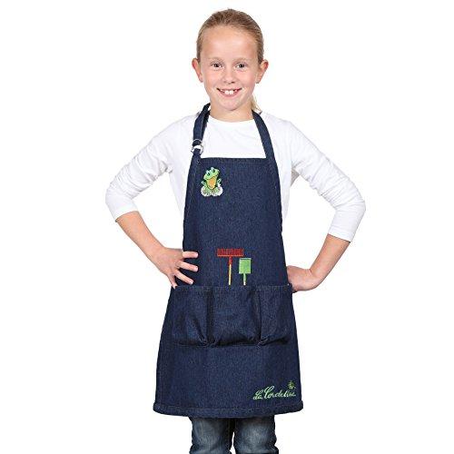 La Cordeline CJN45JEG Delantal infantil de jardinería vaquero, de algodón, con bolsillos y dibujos decorativos bordados. Talla de 6a8años (H56 x L46 cm)