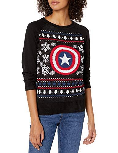 Marvel Junior's Captain America Fairisle Christmas Sweater, Black, XL