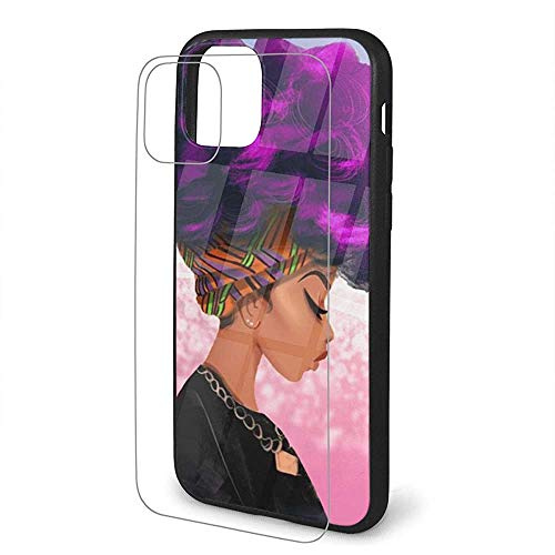 Compatibel met paarse haarkleur African Woman TPU beschermhoes CoveriPhone 11