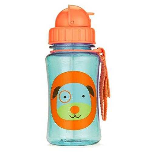Skip Hop 252301 Zoo Straw Bottle Bottiglia con Paglia, 16 oz, Multicolore (Cane)