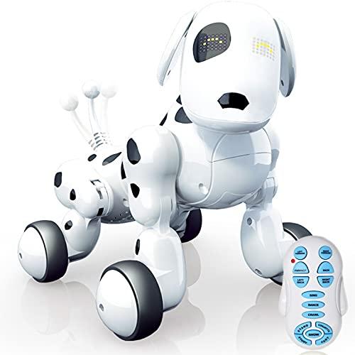 JUGUETECNIC │ Perro Robot interactivo para Niños Buddy │ Canta, Baila y tiene Movimiento Teledirigido│ Ojos LED, Con Batería y Cable Cargador USB │ Mascota realista
