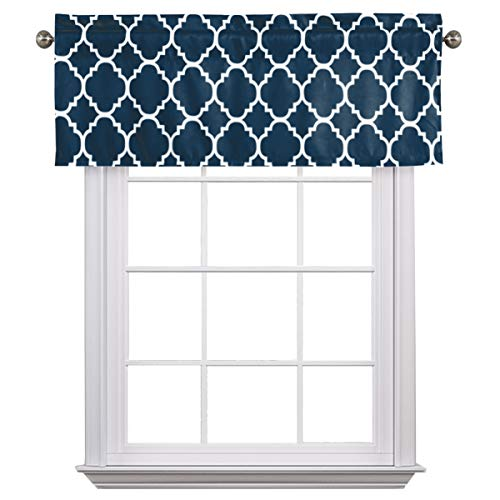 """Flamingo P Moroccan Valance Curtain Short Window Treatment for for Kitchen Living Dining Room Bathroom Kids Girl Baby Nursery Bedroom (Navy - 52"""" x 18"""")"""