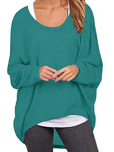 ZANZEA Damen Lose Asymmetrisch Jumper Sweatshirt Pullover Bluse Oberteile Oversize Tops Türkis X-Large