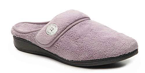 Vionic Women's Indulge Sadie Mule Slipper - Ladies Slipper Concealed Orthotic Support Purple 9 M US