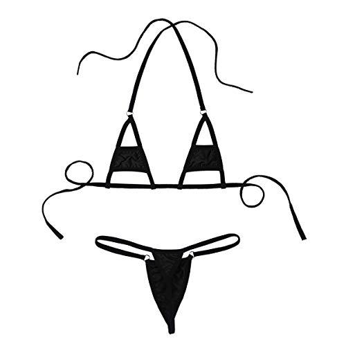 iEFiEL 26 Modelli Donna Costume da Bagno Micro Mini Bikini Brasiliana Tankini Sexy Set Due Pezzi Bra+G-String Lingerie Costumi Mare Swimsuit String Tanga Thong Perizoma Black C Taglia Unica