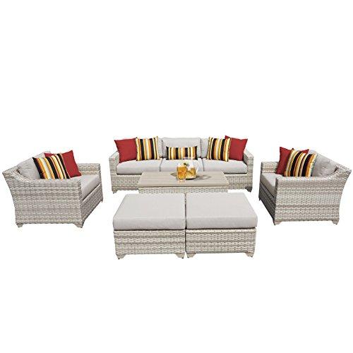 TK Classics FAIRMONT-08c 8 Piece Outdoor Wicker Patio Furniture Set