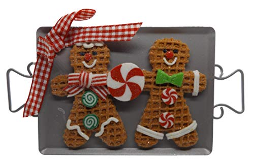 On Holiday Gingerbread Cookie Sheet A Gingerbread Boy and Girl Cookies with Peppermint Swirl Candy Christmas Tree Ornament