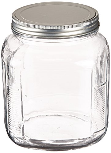 Anchor Hocking 2-Quart Cracker Jar with Brushed Aluminum Lid, Set of 4