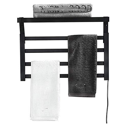 Toallero con Calefacción, Radiador, Plegable Radiador de Toallas de calefacción eléctrica pequeño Plano montado en la Pared ,Toallero Eléctrico, para Dormitorio, Cocina ( Color : Black right line )
