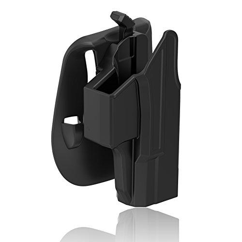 Glock 19 Holster Glock 19X 23 32 45 Holster (Gen 1-5), Polymer Tactical Outside Waistband Pants Paddle Holster with Thumb Release Adjustable Cant for OWB Carry, Right-Handed, Black Finish