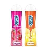 Durex Geles Lubricantes íntimos – Crazy Cherry Gel Comestible – Efecto calentador estimulante (2 geles, 100 ml)