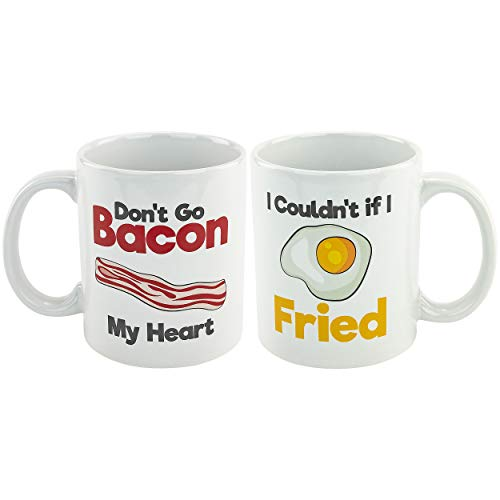 Fairly Odd Novelties go Bacon My Heart Eggs & Bacon Coffee Mug Set of 2 Punny Image Design, Tea/Cocoa Cup Funny Novelty Gag Gift, One Size, White