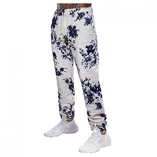 Pantalones de deporte para hombre, aspecto de lino, con impresión, informales, holgados, transpirables, elásticos, con cintura, ligeros, informales, largos, tallas grandes L-4XL, Azul1, XL