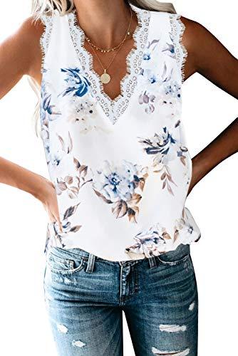 Damen Sommer Spitze V-Ausschnitt Tank Tops Elegant Lose Ärmellos Oberteile Shirt,Blumenweiß,S