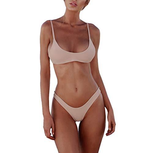 heekpek Costumi da Bagno Donna Due Pezzi Costume Mare Push up Sexy Set Bikini Brasiliana Perizoma Vita Alta Triangolo Spiaggia Swimwear