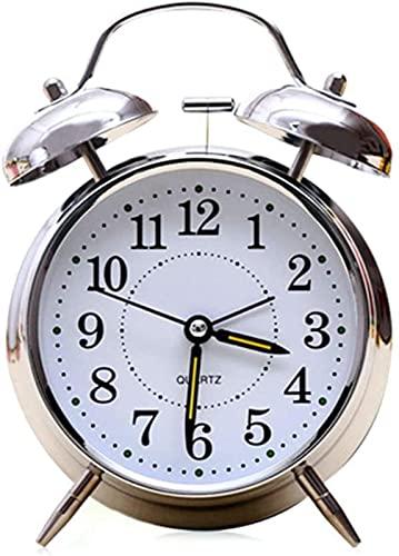 Reloj Despertador de 4', Retro, Ruidoso, Campana Doble, Temporizador mecánico para heridas, Reloj Despertador con Campana de Metal, Plateado