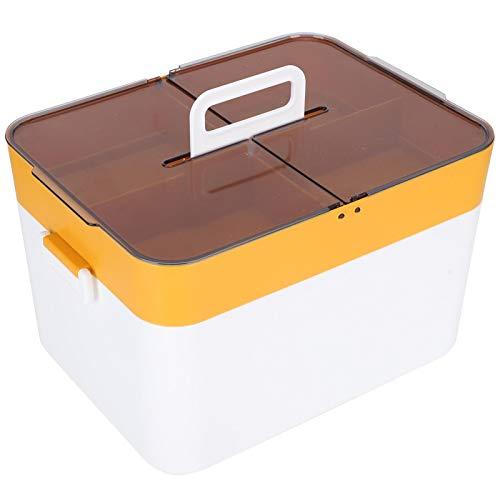 Yeelur Contenedores de Almacenamiento portátiles con Tapas, Organizador Multiusos Caja de Almacenamiento L Organizador de Oficina de Doble Capa Caja de plástico con partición de Gran Capacidad a