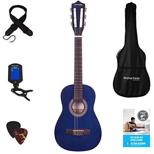 Stretton Payne Konzertgitarre für Kinder, Klassisches Gitarrenpaket, 1/4 Größe (31 Zoll), Alter 3 bis 6, Klassische Nylonsaiten-Kindergitarre im Paket, Blau