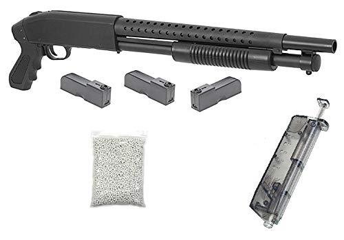 KOSxBO realistische Airsoft Schrotflinte, schwarz - Länge 670mm - Kaliber 6mm - <0,5J - Ink. 3 Magazinen, Speedloader und 6MM Premium BBS - Polizei PUMPGUN - Shot Gun - Softair Pumpguns