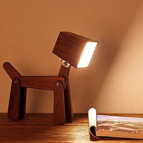 Horome - Lámpara de mesa de noche ajustable con diseño de perro de madera, control táctil de 6 W para dormitorio, madera, Color nogal., Medium