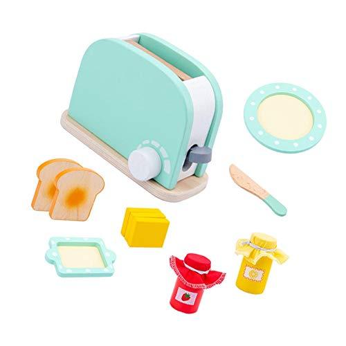 coil-c Tostadora de madera con diseño de casa de los niños, juego de cocina para niñas, juguete de madera, accesorios de cocina, juguetes de cocina