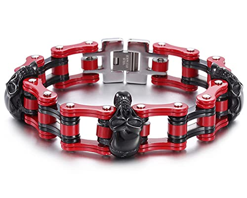 CHXISHOP Pulsera de acero de titanio para hombre, pulsera de cadena de acero inoxidable, diseño de calavera, cadena de motocicleta