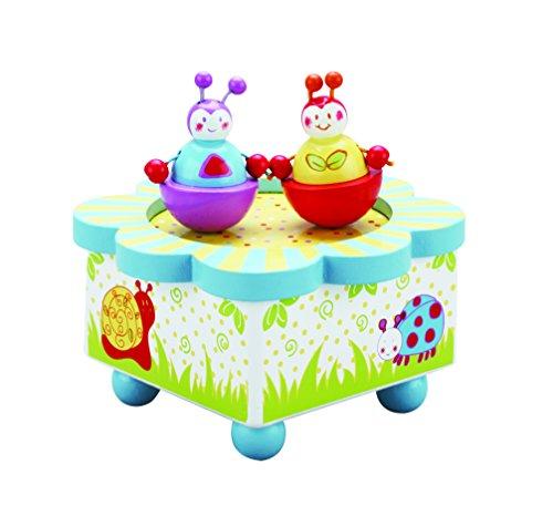 Caja de música multicolor Wiggly Bug – Caja de madera de música con figuras móviles magnéticas – Cajas de música infantiles